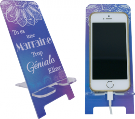 Support Téléphone Tu es une Marraine trop Géniale - Mod.4 - Cadeau personnalise personnalisable - 1