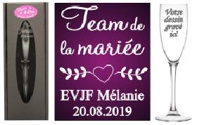 Flûte gravée - EVJF Team la mariée - Cadeau personnalise personnalisable - 1