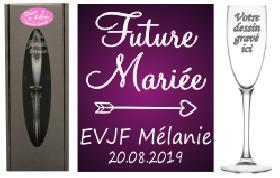 Flûte gravée - EVJF Future mariée - Cadeau personnalise personnalisable - 1