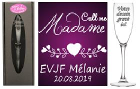 Flûte gravée - EVJF Call me Madame - Cadeau personnalise personnalisable - 1