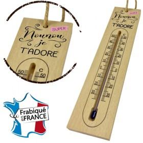 Thermomètre en Bois pour Nounou Mod.5 - Cadeau personnalise personnalisable - 1