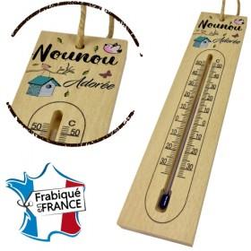 Thermomètre en Bois pour Nounou Mod.8 - Cadeau personnalise personnalisable - 1