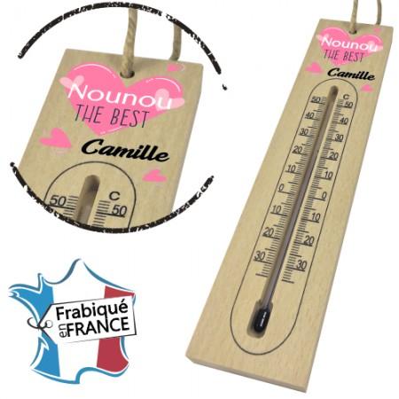 Thermomètre en Bois pour Nounou Mod.13 - Cadeau personnalise personnalisable - 1