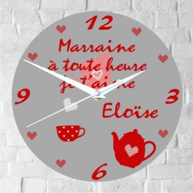 .Horloge Marraine Personnalisée (H.E ) Gravure Events - Cadeau personnalisé - 1