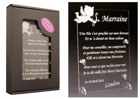 Poème Marraine - Mod. Ange - Cadeau personnalise personnalisable - 1