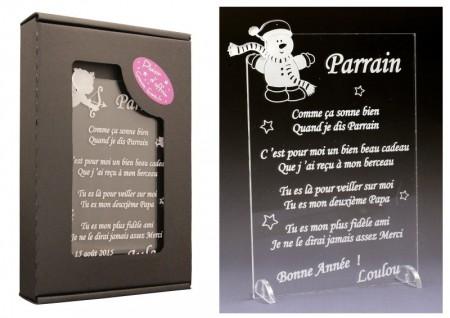 Poème Parrain - Mod. Bonhomme de Neige - Cadeau personnalise personnalisable - 1