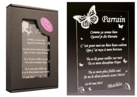 Poème Parrain - Mod. Papillon Gravure Events - Cadeau personnalisé - 1