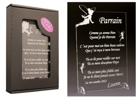 Poème Parrain - Mod. Fée - Cadeau personnalise personnalisable - 1