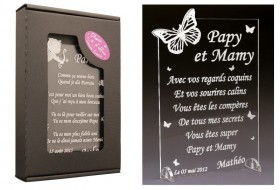 Poème Papy et Mamy - Mod. Papillon Gravure Events - Cadeau personnalisé - 1