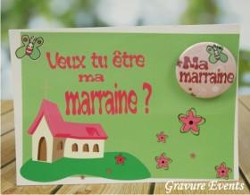 Carte postale Badge - Veux tu être ma Marraine (Mod BMr) Gravure Events - Cadeau personnalisé - 1