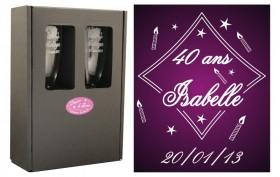 2 Flûtes Bougies avec boîte cadeau - Cadeau personnalise personnalisable - 1