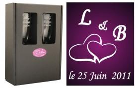 2 Flûtes Coeurs Initiales avec boîte cadeau - Cadeau personnalise personnalisable - 1