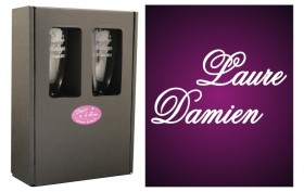 2 Flûtes Duo de Prénoms avec boîte cadeau Gravure Events - Cadeau personnalisé - 1