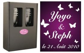 2 Flûtes Papillon Mariage avec boîte cadeau - Cadeau personnalise personnalisable - 1