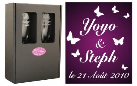 2 Flûtes Papillon Mariage avec boîte cadeau Gravure Events - Cadeau personnalisé - 1