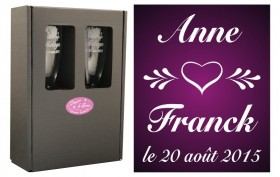 2 Flûtes Coeur Vintage avec boîte cadeau - Cadeau personnalise personnalisable - 1
