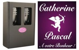 2 Flûtes Cupidon avec boîte cadeau Gravure Events - Cadeau personnalisé - 1