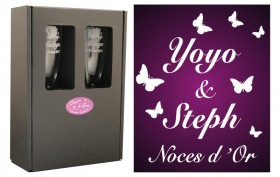 2 Flûtes Papillons avec boîte cartonnée Gravure Events - Cadeau personnalisé - 1