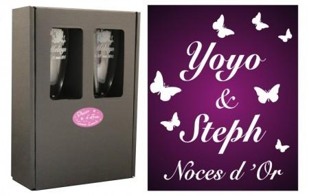 2 Flûtes Papillons & avec boîte cartonnée - Cadeau personnalise personnalisable - 1