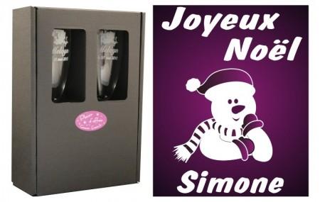 Flûte Noël - Bonhomme Accoudé avec boîte cadeau - Cadeau personnalise personnalisable - 1