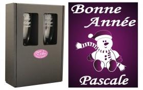 Flûte Noël - Bonhomme Assis avec boîte cadeau - Cadeau personnalise personnalisable - 1