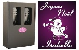 Flûte Noël - Bonhomme Debout avec boîte cadeau - Cadeau personnalise personnalisable - 1