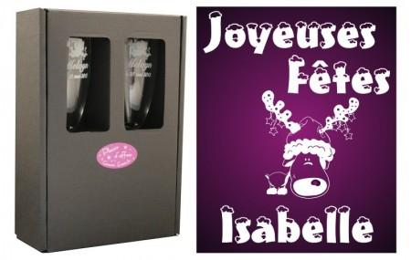 Flûte Noël - modèle Cerf Etoiles avec boîte cadeau - Cadeau personnalise personnalisable - 1