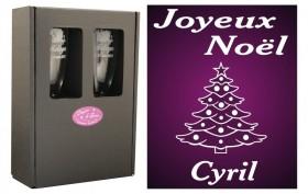 Flûte Noël - modèle Sapin de Noël avec boîte cadeau - Cadeau personnalise personnalisable - 1