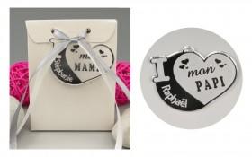 Boite de Chocolat - Médaille Papi - Mod.Cœur.Blanc Gravure Events - Cadeau personnalisé - 1