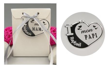 Boite de Chocolat - Médaille Papi - Mod.Cœur.Blanc - Cadeau personnalise personnalisable - 1