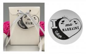Boite de Chocolat - Médaille Marraine - Mod.Cœur.Blanc Gravure Events - Cadeau personnalisé - 1