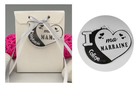 Boite de Chocolat - Médaille Marraine - Mod.Cœur.Blanc - Cadeau personnalise personnalisable - 1