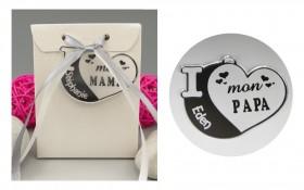 Boite de Chocolat - Médaille Papa - Mod.Cœur.Blanc Gravure Events - Cadeau personnalisé - 1