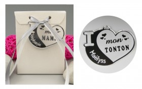 Boite de Chocolat - Médaille Tonton - Mod.Cœur.Blanc Gravure Events - Cadeau personnalisé - 1