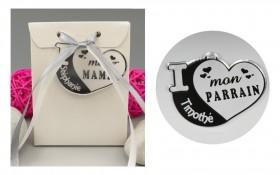 Boite de Chocolat - Médaille Parrain - Mod.Cœur.Blanc Gravure Events - Cadeau personnalisé - 1