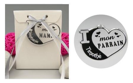 Boite de Chocolat - Médaille Parrain - Mod.Cœur.Blanc - Cadeau personnalise personnalisable - 1
