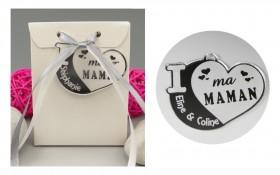 Boite de Chocolat - Médaille Maman - Mod.Cœur.Blanc Gravure Events - Cadeau personnalisé - 1