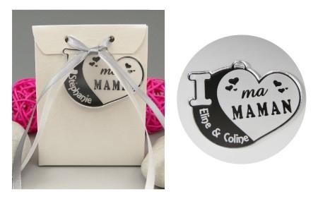 Boite de Chocolat - Médaille Maman - Mod.Cœur.Blanc - Cadeau personnalise personnalisable - 1