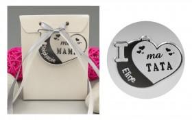 Boite de Chocolat - Médaille Tata - Mod.Cœur.Blanc Gravure Events - Cadeau personnalisé - 1