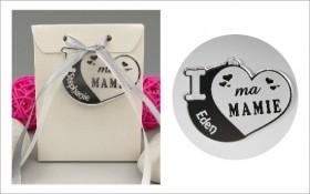 Boite de Chocolat - Médaille Mamie - Mod.Cœur.Blanc Gravure Events - Cadeau personnalisé - 1