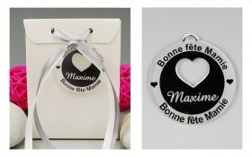 Boite de Chocolat - Bonne Fête Mamie - Médaille Cœur Rond Gravure Events - Cadeau personnalisé - 1