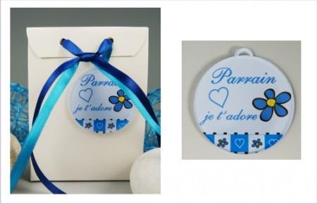 Boite de Chocolat - Médaille Parrain - Mod.Lef.GBleu - Cadeau personnalise personnalisable - 1