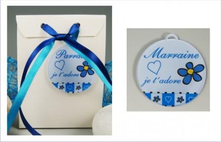 Boite de Chocolat - Médaille Marraine - Mod.Lef.GBleu - Cadeau personnalise personnalisable - 1