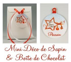 Boite de Chocolat Parrain & Mini Déco de Sapin - Cadeau personnalise personnalisable - 1