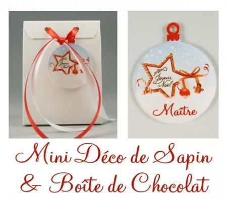 Boite de Chocolat Maître & Mini Déco de Sapin - Cadeau personnalise personnalisable - 1