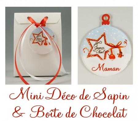 Boite de Chocolat Maman & Mini Déco de Sapin - Cadeau personnalise personnalisable - 1