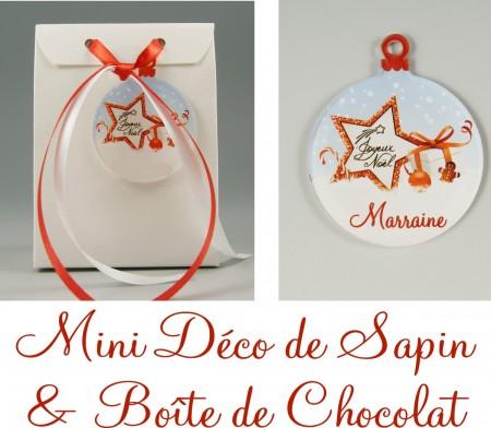 Boite de Chocolat Marraine & Mini Déco de Sapin - Cadeau personnalise personnalisable - 1