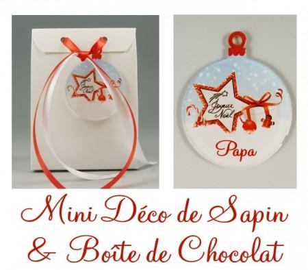 Boite de Chocolat Papa & Mini Déco de Sapin - Cadeau personnalise personnalisable - 1