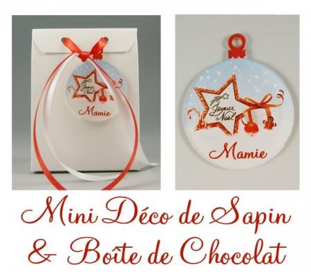 Boite de Chocolat Mamie & Mini Déco de Sapin - Cadeau personnalise personnalisable - 1