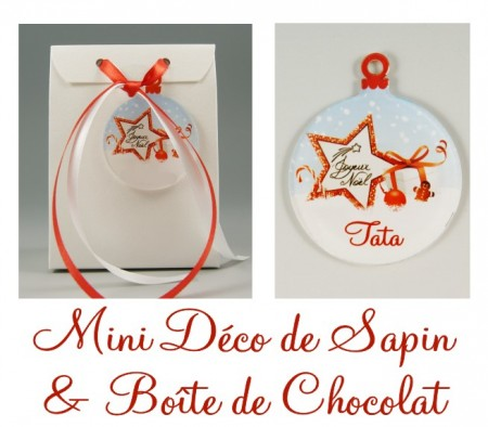 Boite de Chocolat Tata & Mini Déco de Sapin - Cadeau personnalise personnalisable - 1